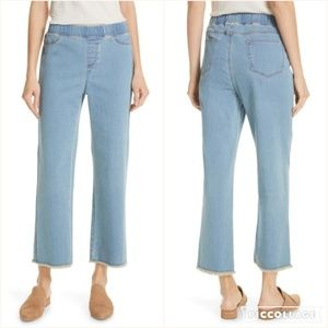 Eileen Fisher Frayed Hem Pull-On Ankle Jeans )B6